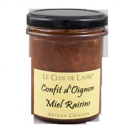 Confit d'oignons au miel et raisins
